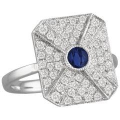 18K Art Deco Style White Gold Round Blue Ceylon Sapphire & Diamond Cocktail Ring