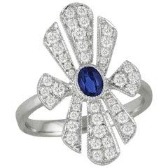 18k Art Deco Style White Gold Oval Blue Ceylon Sapphire Diamond Cocktail Ring