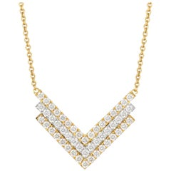 18K Art Deco Style White & Yellow Two-Tone Gold Chevron Necklace with Diamonds