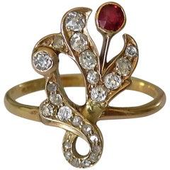 18 Karat Art Nouveau Diamond Garnet Gold Ring