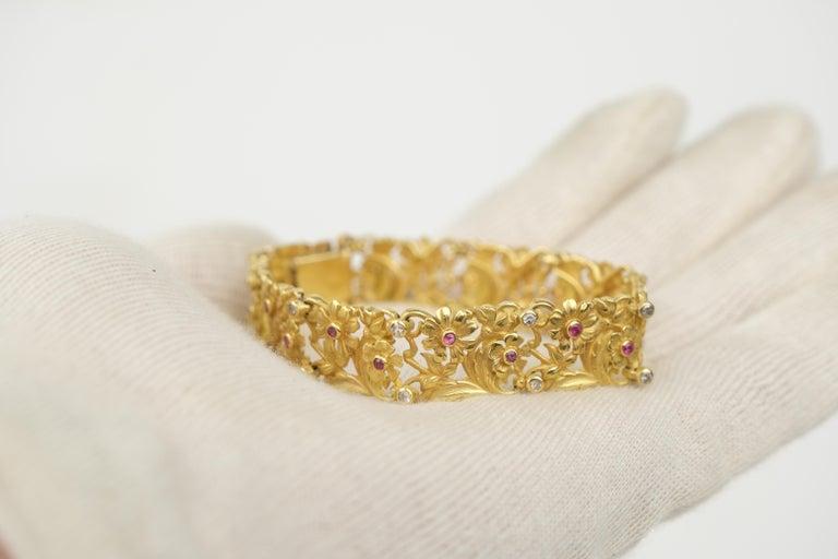 18 Karat Art Nouveau Style Ruby and Diamond Panel Bracelet For Sale 1