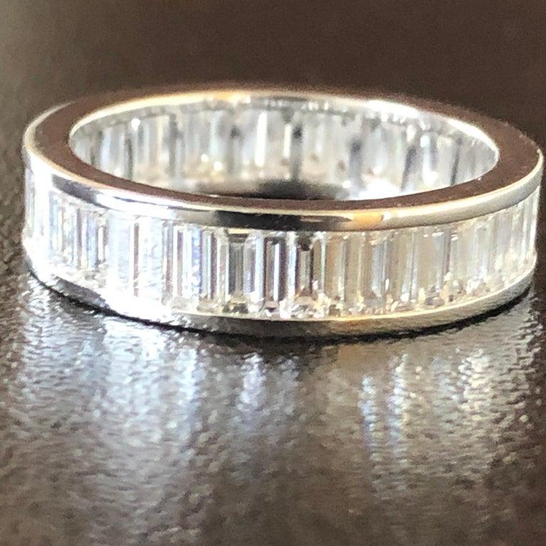 Modern 18 Karat Baguette Eternity Ring White For Sale