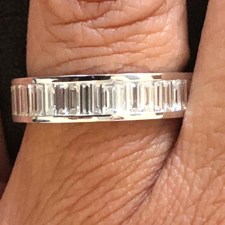 18 Karat Baguette Eternity Ring White In New Condition For Sale In Great Neck, NY
