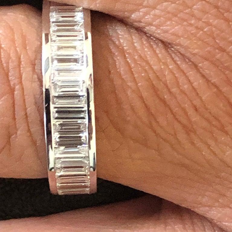 Women's 18 Karat Baguette Eternity Ring White For Sale