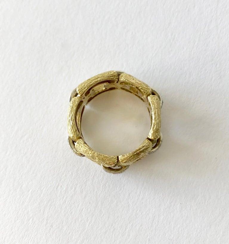 Modernist 18 Karat Bark Textured Gold and Diamond Vintage 1960s Ring For Sale