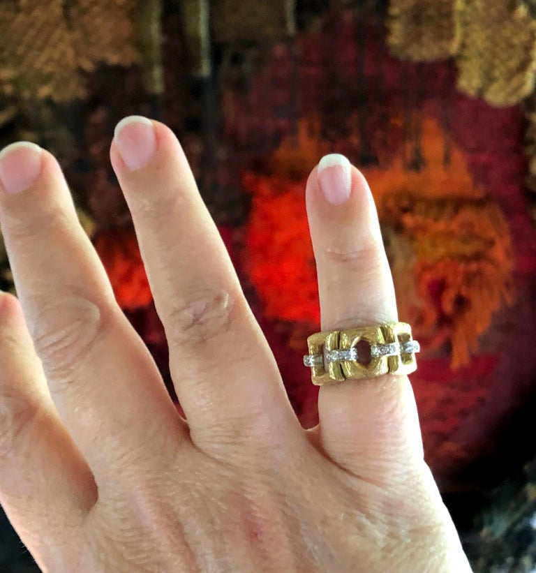 Uncut 18 Karat Bark Textured Gold and Diamond Vintage 1960s Ring For Sale