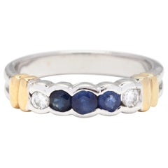 18 Karat Bi-Color Gold, Diamond and Sapphire Band Ring