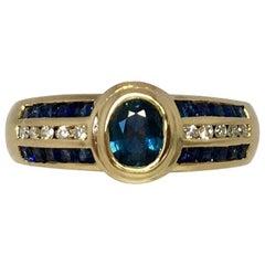 18k Blue Sapphire & Diamond Designer Ring 1 Carat Yellow Gold Rubover Bezel Set