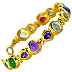 18k Bracelet with Sapphire, Emerald, Garnet, Aquamarine, Amethyst and Tanzanite
