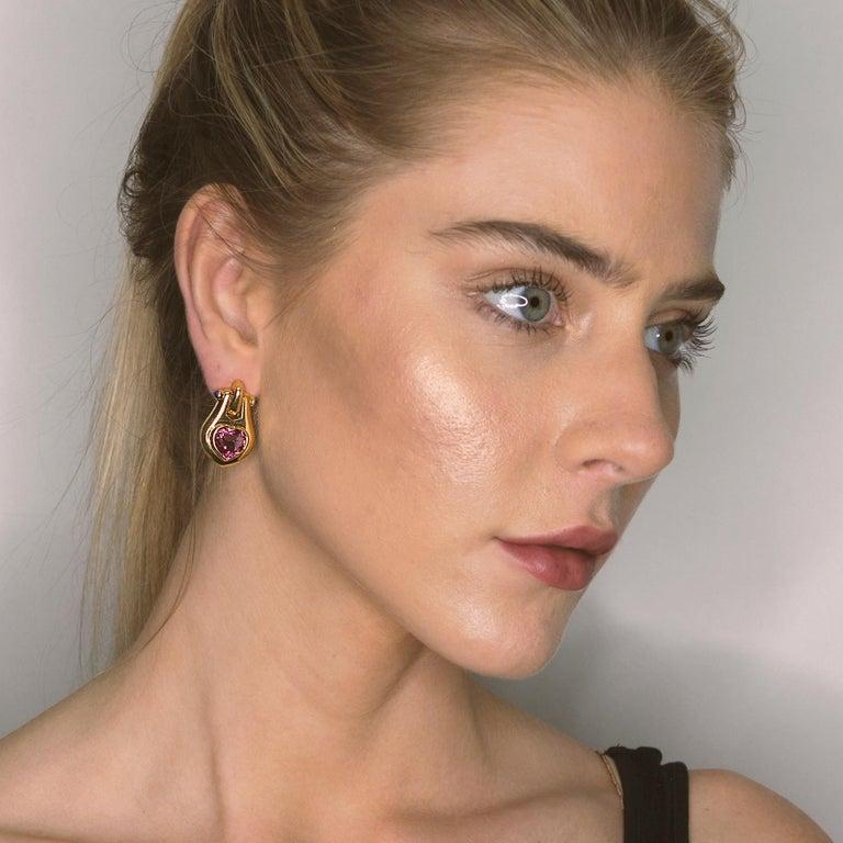 18k Bulgari Heart Shape Tourmaline and cabochon sapphire earrings. 28.23g