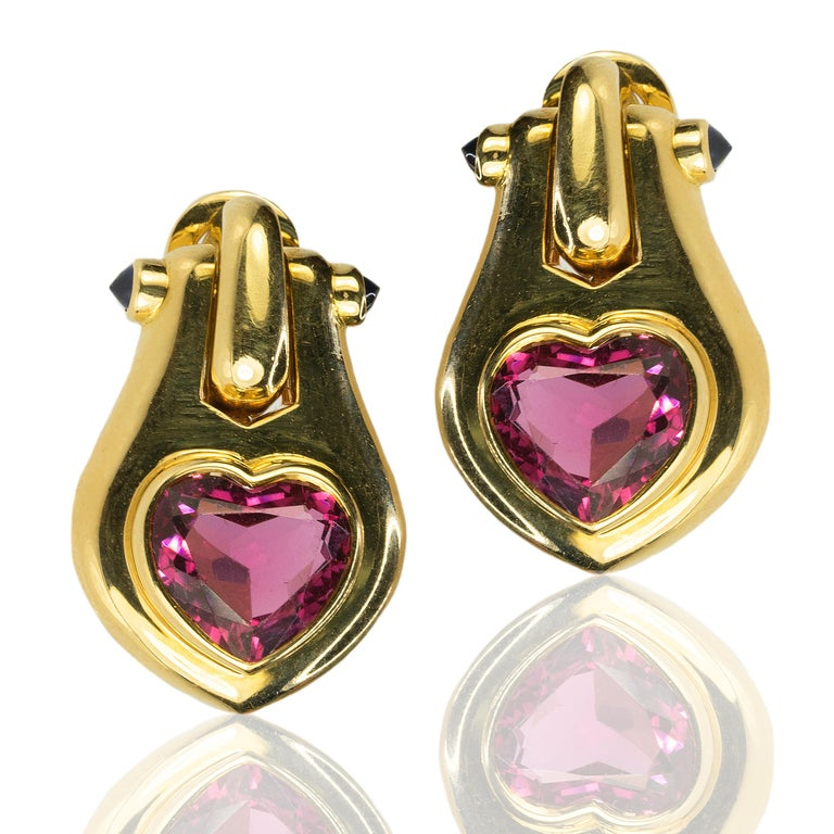 Baguette Cut 18 Karat Bulgari Heart Shape Tourmaline Earrings