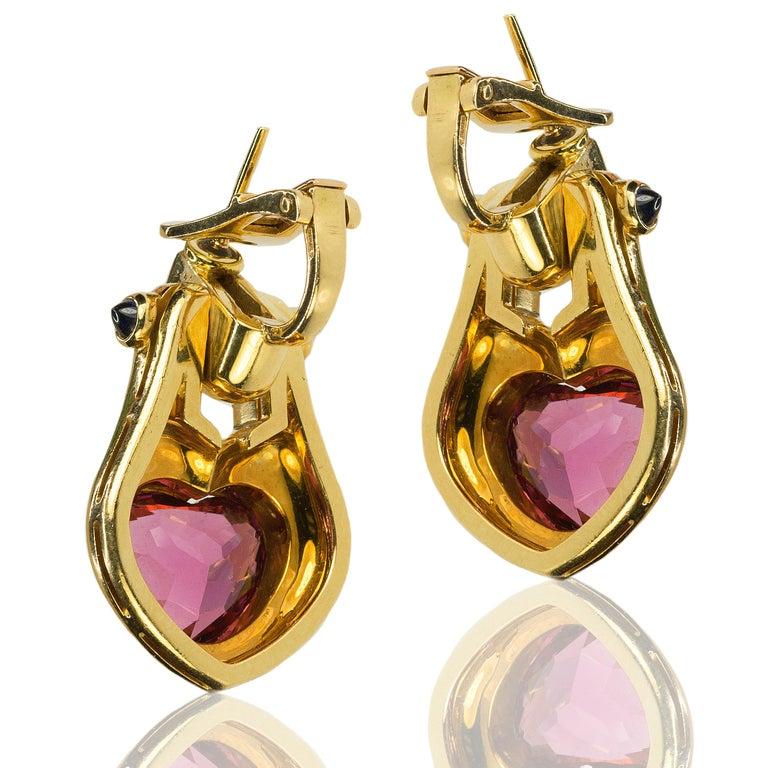 Women's or Men's 18 Karat Bulgari Heart Shape Tourmaline Earrings