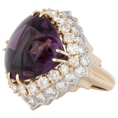 18 Karat Cabochon Amethyst Diamond Ring