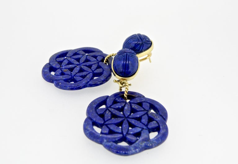 18K Carved Lapis Lazuli Drop Scarab Earrings