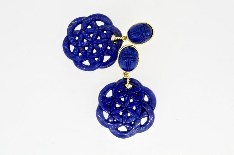 Contemporary 18 Karat Carved Lapis Lazuli Scarab Drop Earrings For Sale