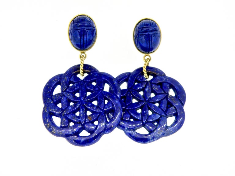 Women's or Men's 18 Karat Carved Lapis Lazuli Scarab Drop Earrings For Sale