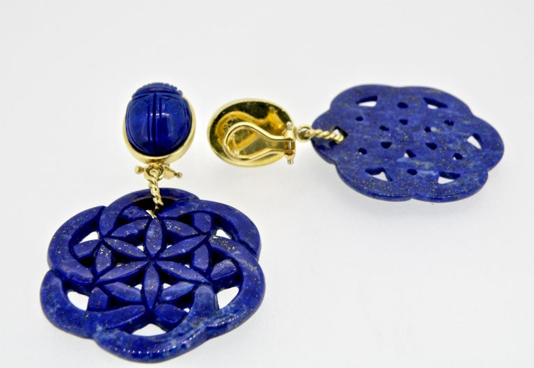 18 Karat Carved Lapis Lazuli Scarab Drop Earrings For Sale 1