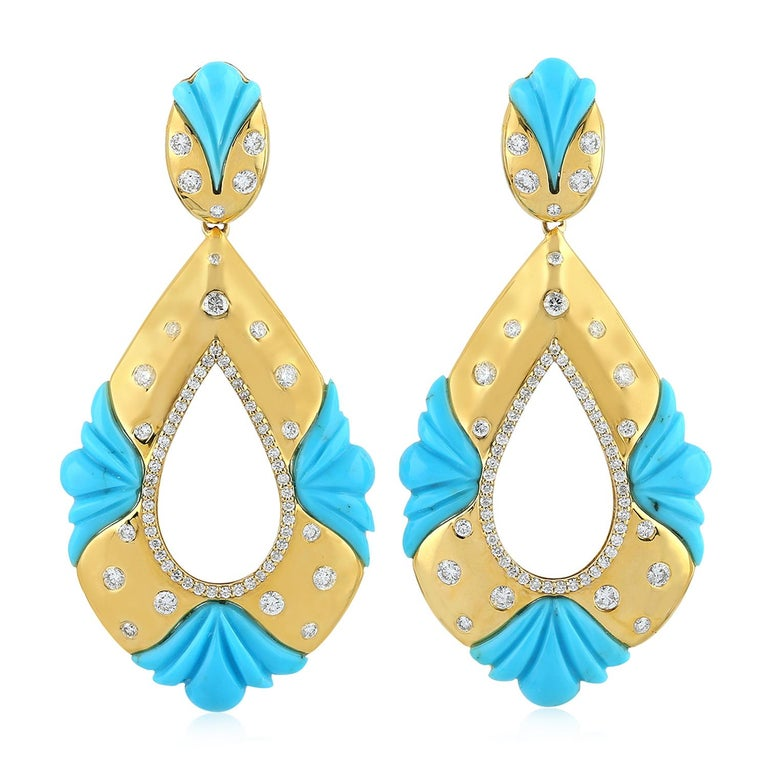 18K Yellow Gold Carved 18.94 carats Turquoise Diamonds Earrings For Sale