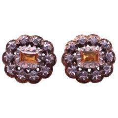 18 Karat Citrine Button Diamond Cluster Earrings, circa 1880