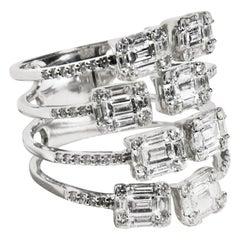 18 Karat Contemporary Unique Four-Row Diamond Ring