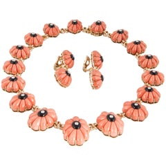 18 Karat Coral Onyx Diamond Necklace and Earrings
