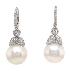 18k Dangle Diamond Pearl Earrings