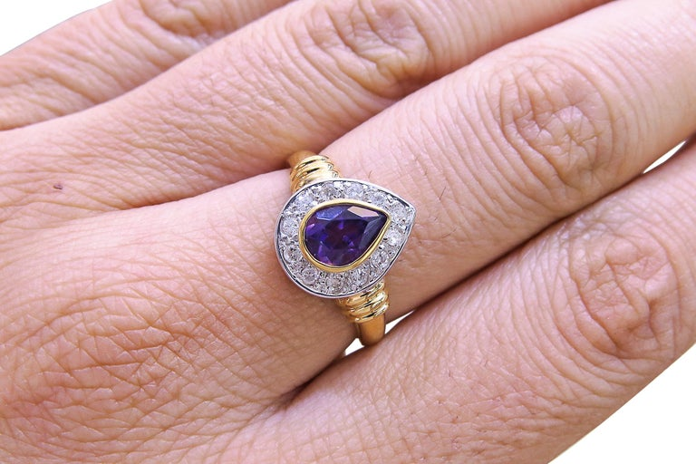 18K Yellow Gold  Weight= 3.7 gr  Diamond= 0.30 Ct total  Amethyst= 1.25 Ct total  Year= 1980