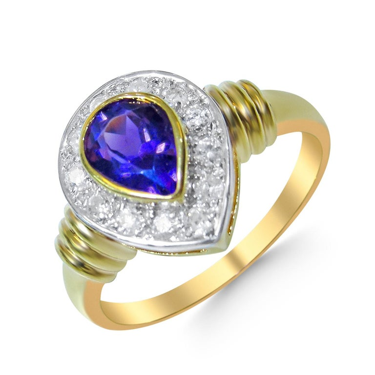 Women's 18 Karat Diamond and Amethyst Ladies Ring For Sale