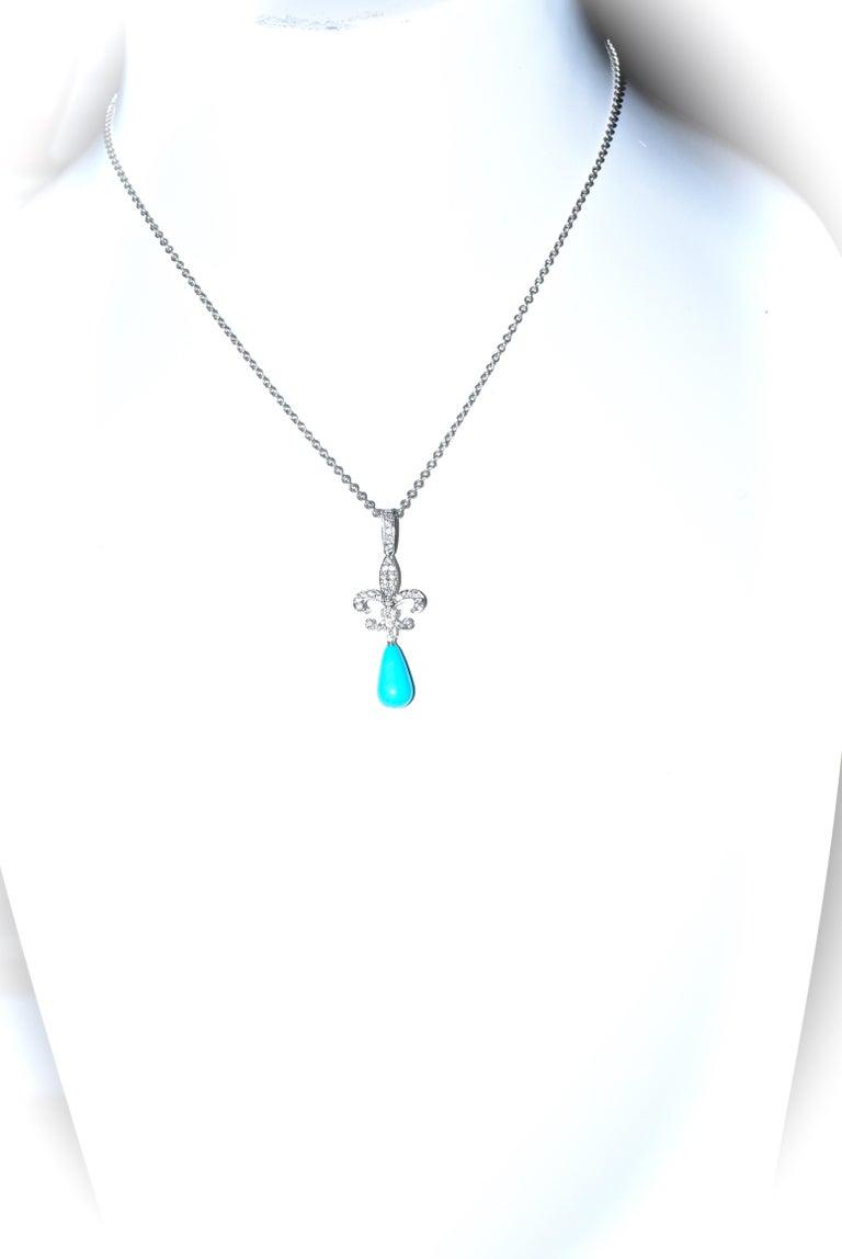 Women's or Men's 18 Karat Diamond and Turquoise Fleur de Lis Pendant For Sale