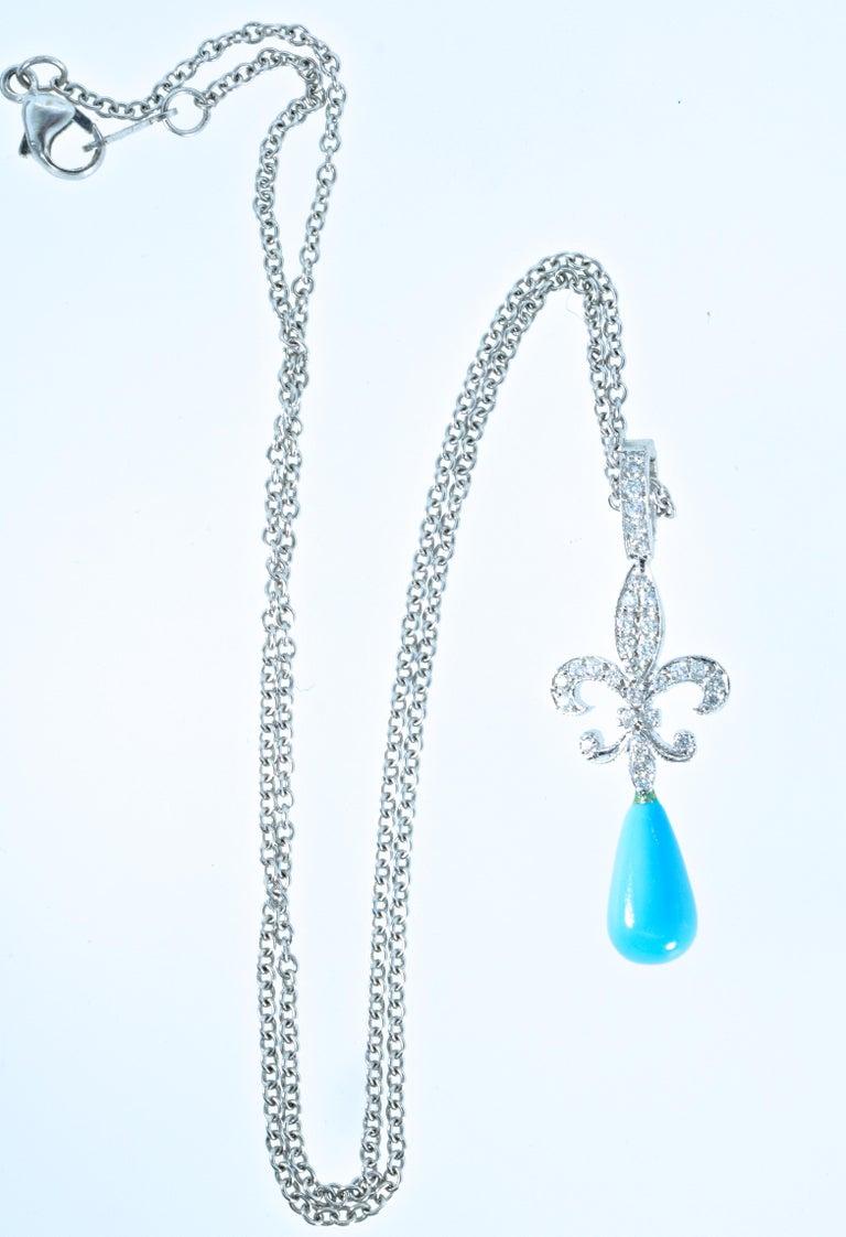 18 Karat Diamond and Turquoise Fleur de Lis Pendant For Sale 1