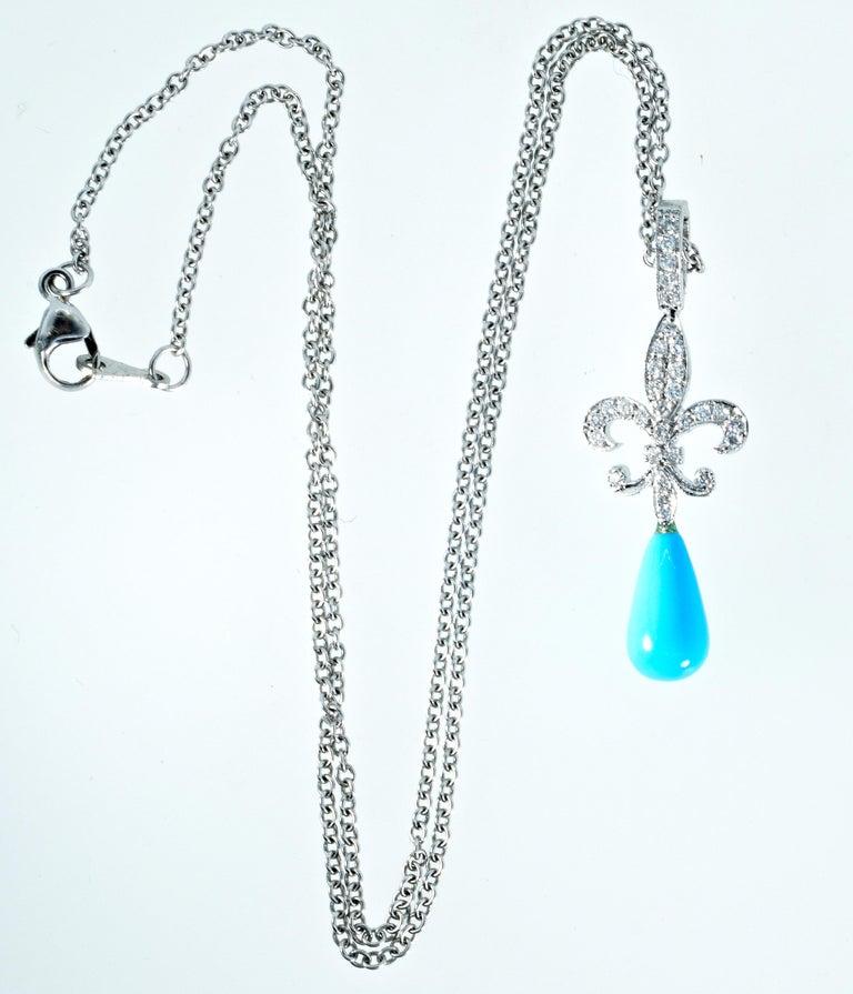 18 Karat Diamond and Turquoise Fleur de Lis Pendant For Sale 2