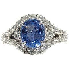 18 Karat Diamond Ceylon Sapphire Ring White Gold AGL 2.96 Carat