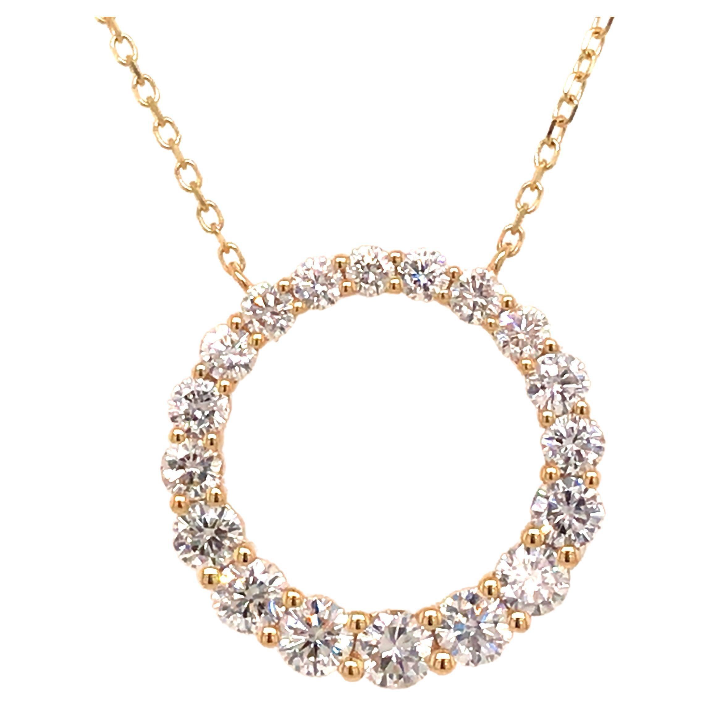 18K Diamond Circle Pendant Yellow Gold