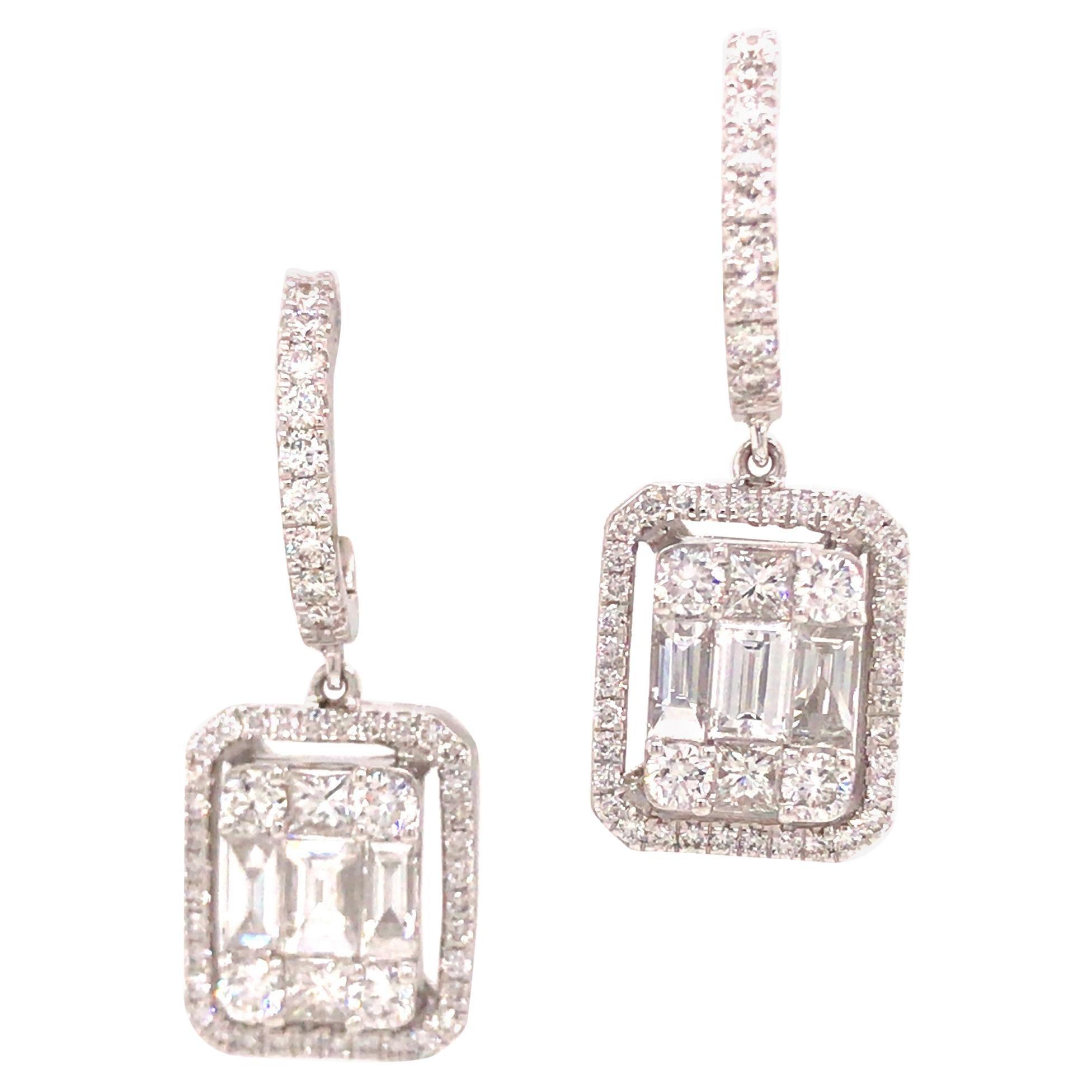 18K Diamond Cluster Dangle Earring White Gold