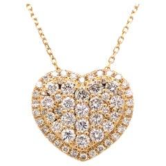 18K Diamond Heart Cluster Pendant Yellow Gold