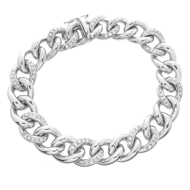 18 Karat Diamond Link Bracelet 41 7 Grams For