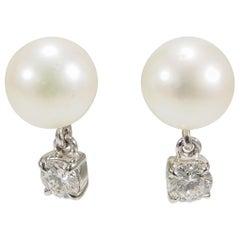 18 Karat Diamond Pearl Earrings Cultured Drop Dangle White Gold