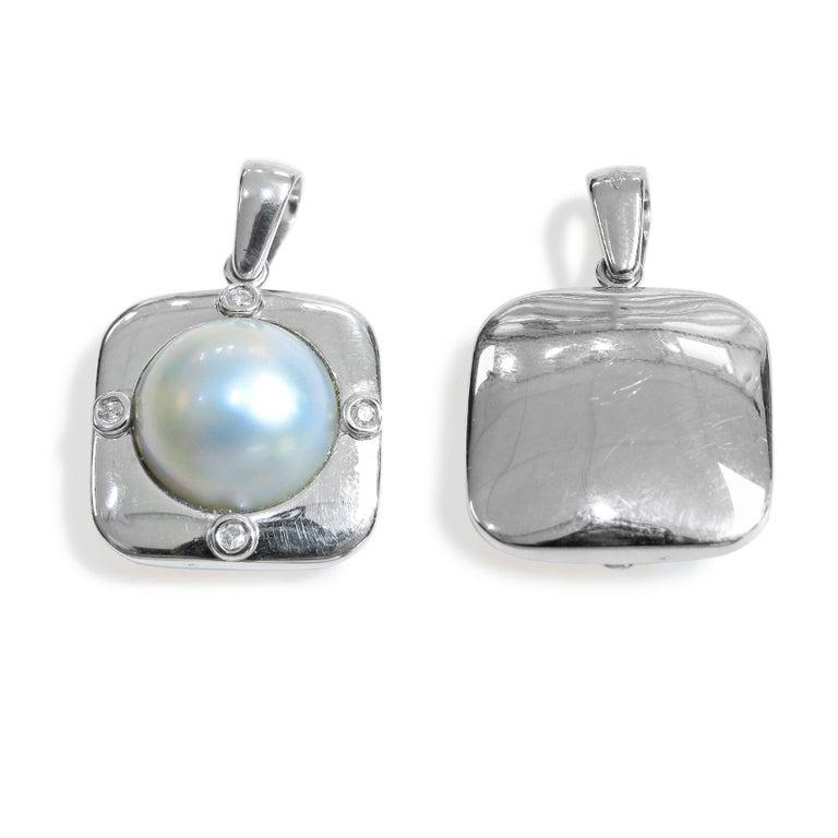 18 Karat Diamond-Pearl Set, Earring, Pendant and Ring For Sale 5