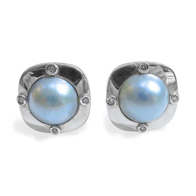 18 Karat Diamond-Pearl Set, Earring, Pendant and Ring For Sale 7