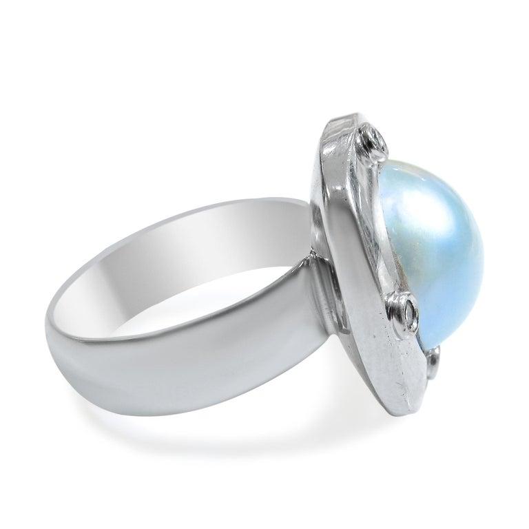 18 Karat Diamond-Pearl Set, Earring, Pendant and Ring For Sale 2
