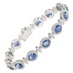 18 Karat Diamond Sapphire Tennis Bracelet White Gold 10.49 Carat