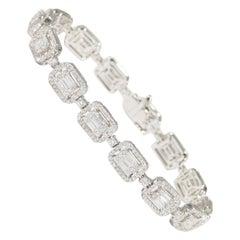 18 Karat Diamond Tennis Bracelet Halo Links White Gold 4.08 Carat