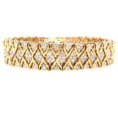 18K Diamond Weave Bracelet Two-Tone Gold
