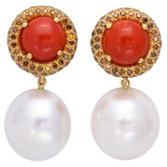 18K Donna Vock Red Coral, South Sea Pearl Clip-On Earrings with Cognac Diamonds