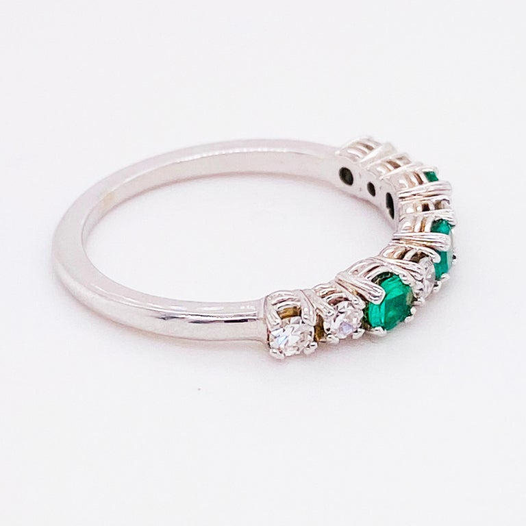 Modern 18 Karat Emerald and Diamond Ring .44 Carat Total Weight Ring May Gemstone For Sale