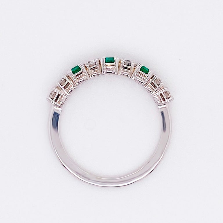 Round Cut 18 Karat Emerald and Diamond Ring .44 Carat Total Weight Ring May Gemstone For Sale