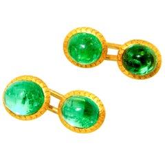 18K Emerald Antique Cufflinks,. circa 1890