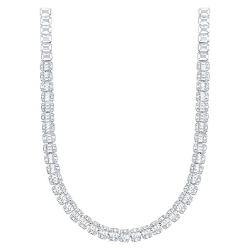18 Karat Emerald Cut Diamond Necklace 9 Carat