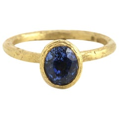 18 Karat Fair Trade Yellow Gold Sapphire Engagement Ring