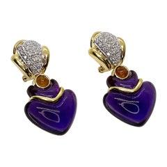 18k Fancy Cut Cabochon Amethyst Earrings
